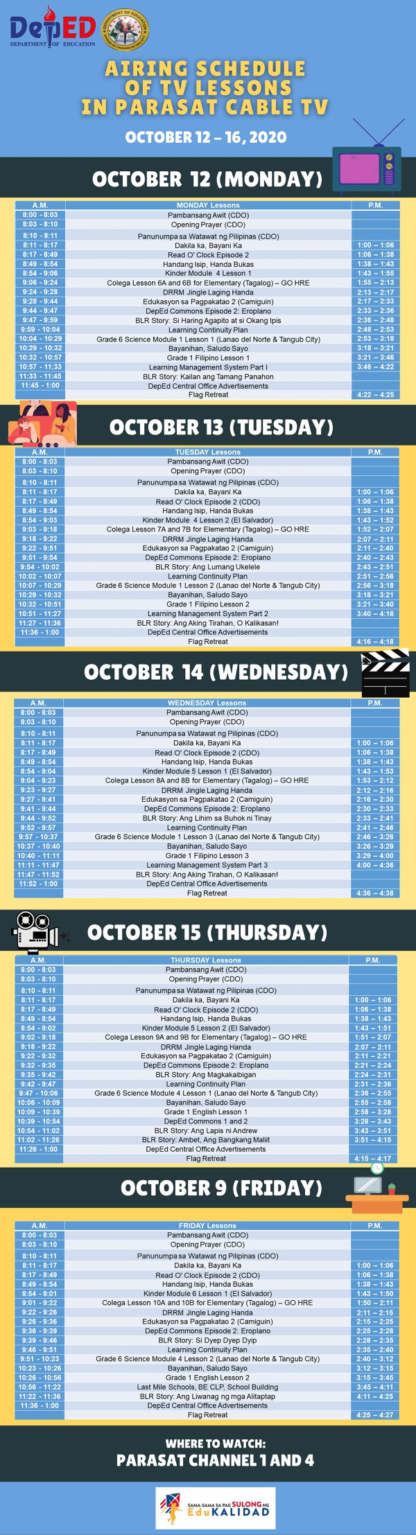 parasat-cable-2nd-week-sched