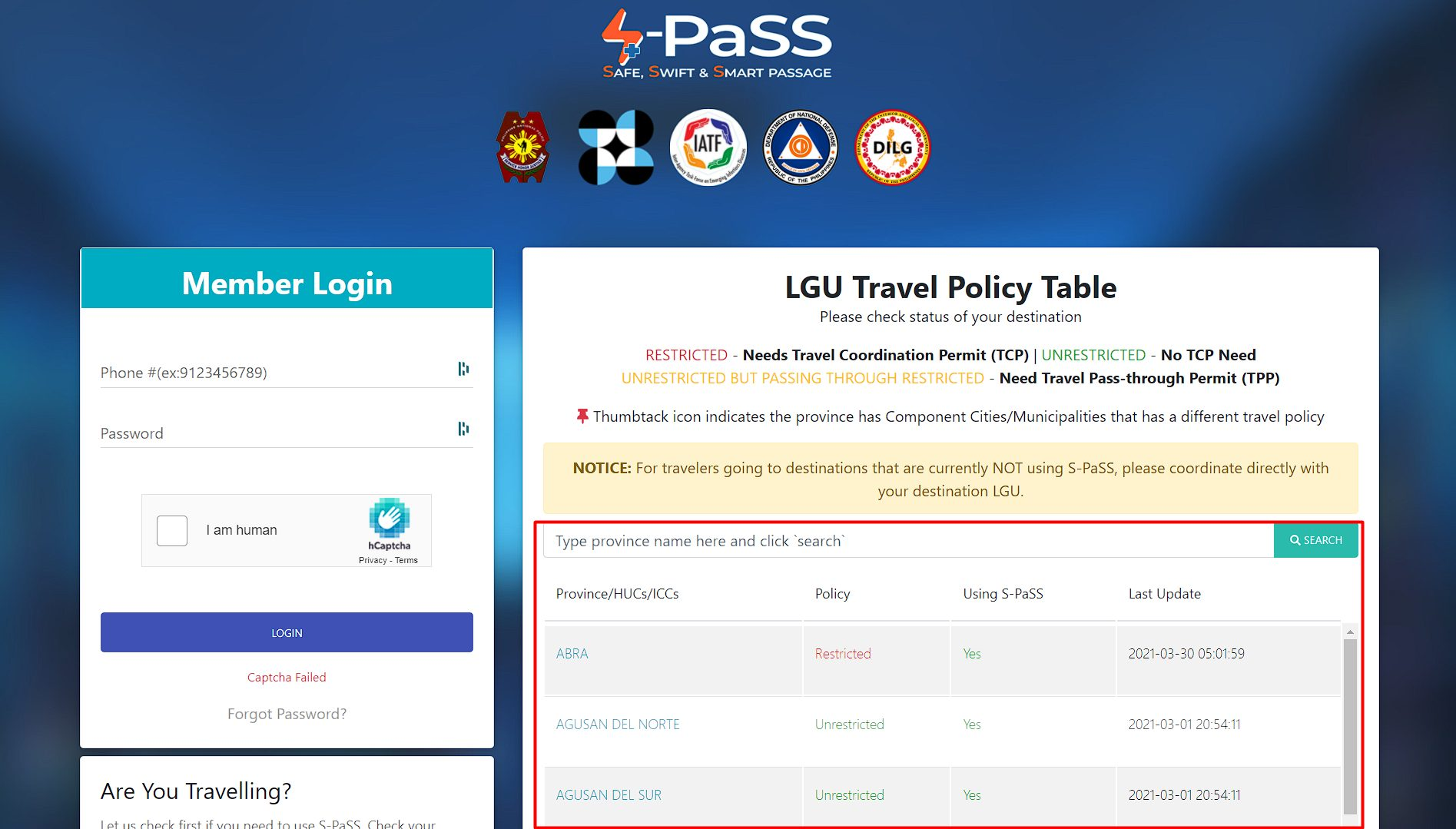 s-pass-travel-policy-table